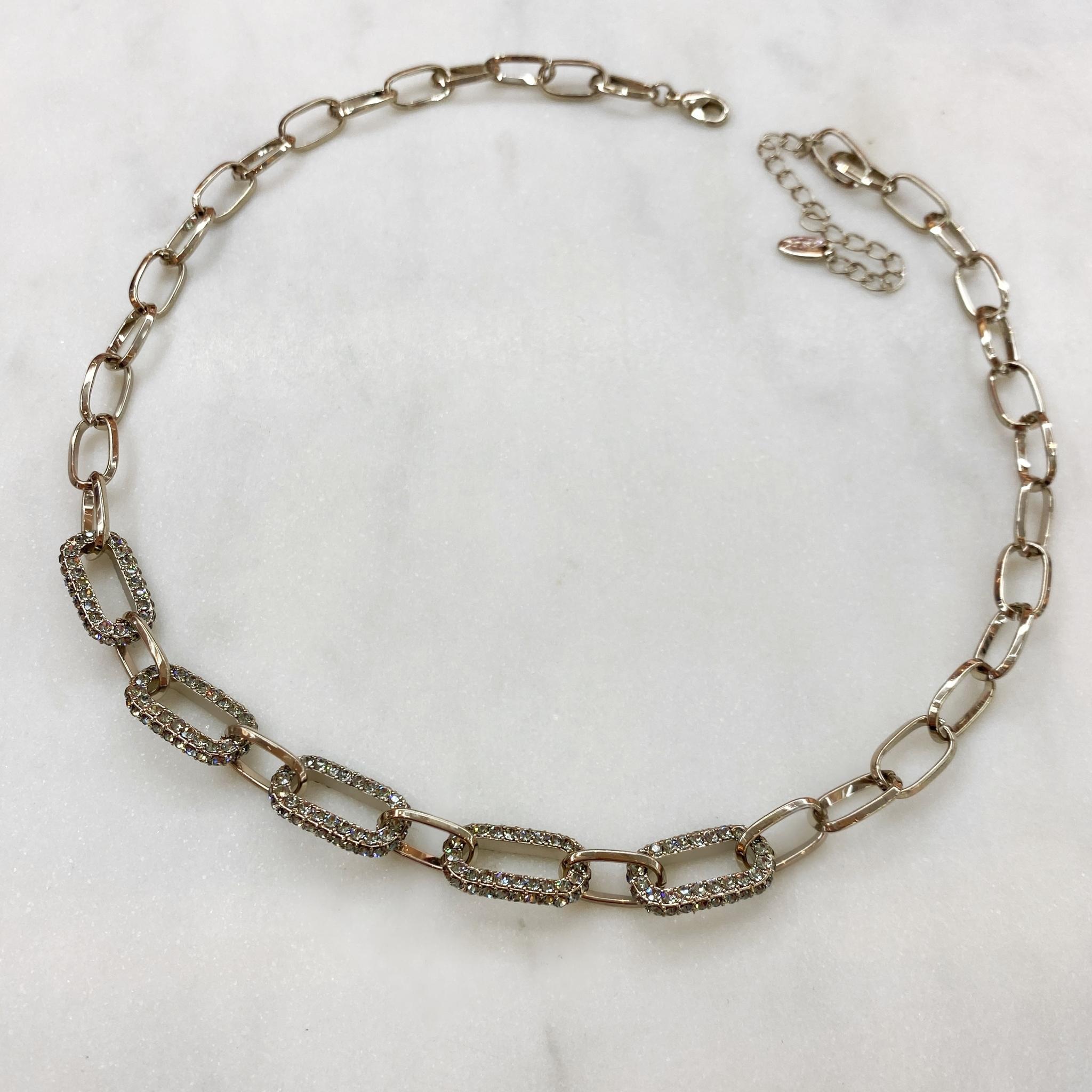 Колье-цепь с овальными звеньями с кристаллами Swarovski (брасс)