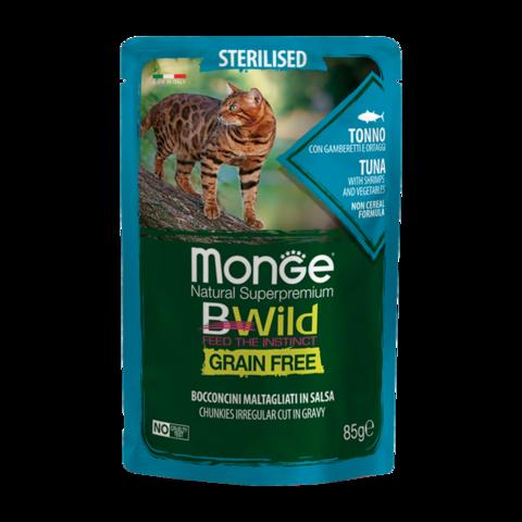Monge Cat BWild Grain Free Консервы для стерилизованных кошек из тунца с креветками и овощами, беззерновые (пауч)