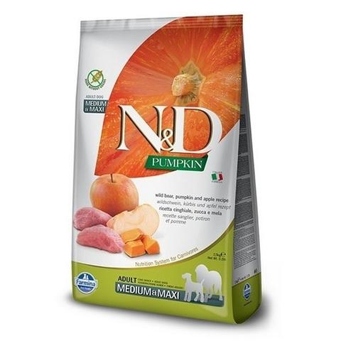 12 кг. FARMINA N&D Pumpkin Сухой беззерновой корм для взрослых собак средних и крупных пород с кабаном, тыквой и яблоком Adult Medium&Maxi Boar&Apple