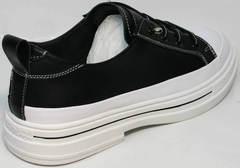 Летние сникерсы туфли на низком ходу женские El Passo sy9002-2 Sport Black-White.