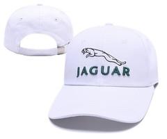 Кепка с вышитым логотипом Ягуар (Бейсболка Jaguar) белая