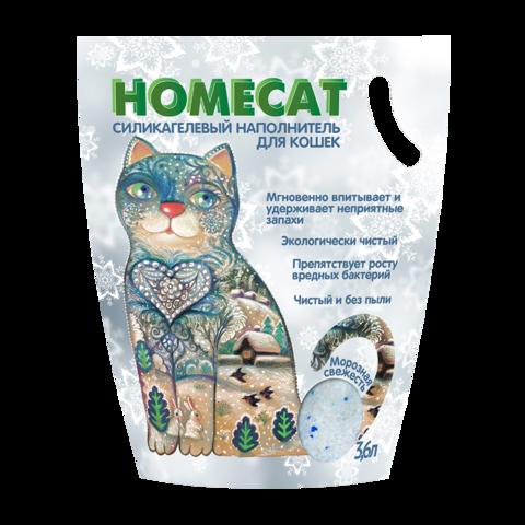 Homecat Морозная свежесть Наполнитель для кошачьих туалетов силикагелевый с ароматом морозной свежести