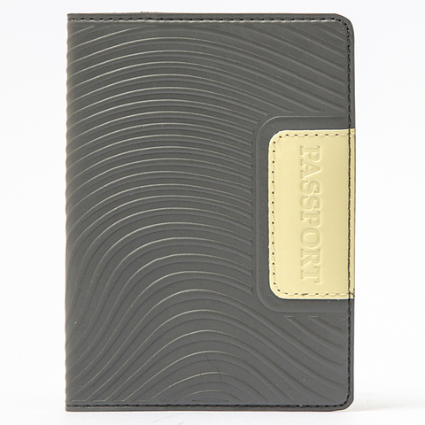 Обложка на паспорт   Waves   Серо-лимонный