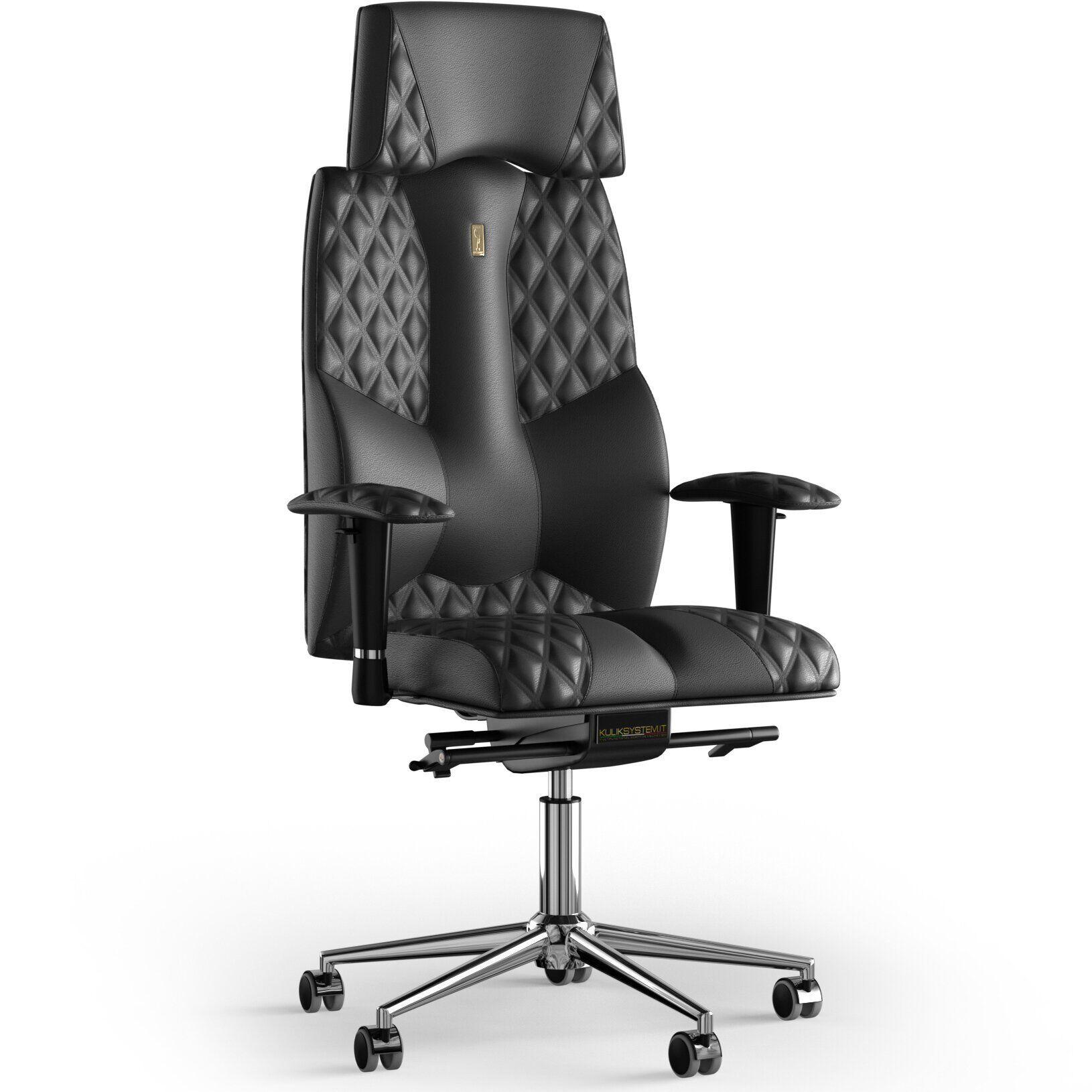 Кресло KULIK SYSTEM BUSINESS Кожа с подголовником со строчкой