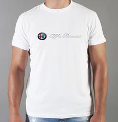 Футболка с принтом Альфа Ромео (Alfa Romeo) белая 008