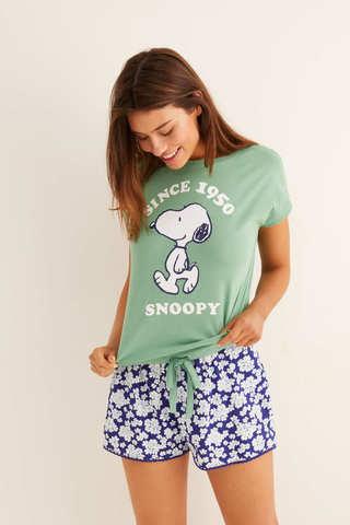 Коротка піжама «Снупі» з квітковим принтом