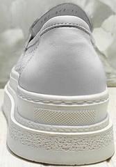 Белые летние кроссовки лоферы на высокой подошве Derem 372-17 All White.