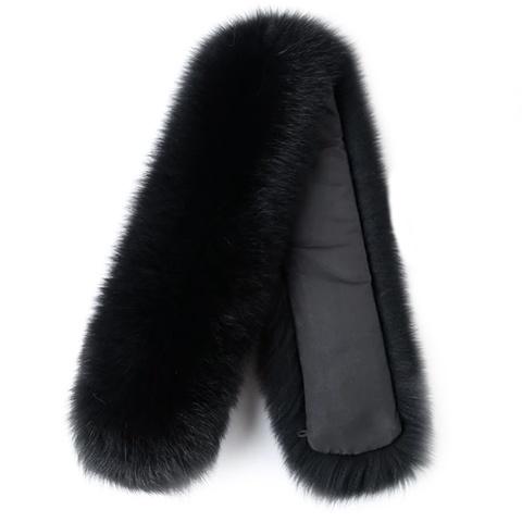 Опушка меховая на капюшон из натурального меха песца 70 см. Черный.