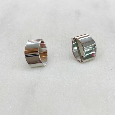 Серьги-кластеры в форме цилиндриков (серебристый)