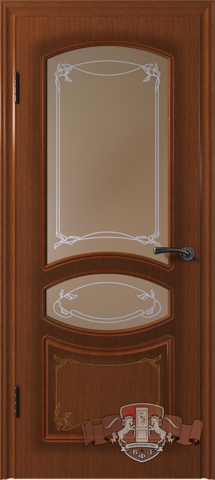 Дверь 13ДР2 (макоре, остекленная шпонированная), фабрика Владимирская фабрика дверей