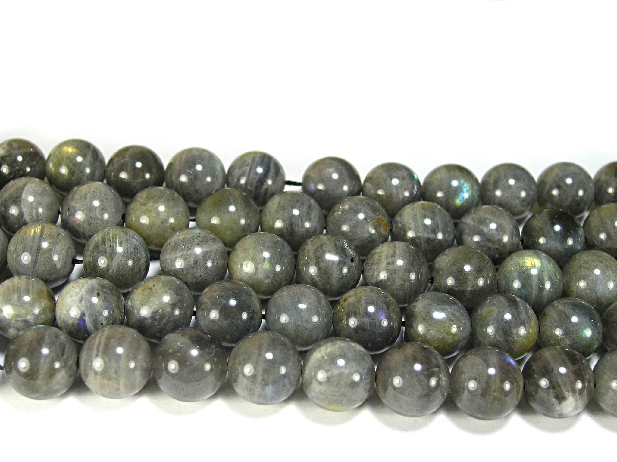 Нить бусин из лабрадора (спектролита), шар гладкий 12мм