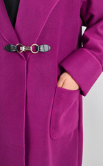 Сарена. Гарне пальто плюс сайз. Фуксія.