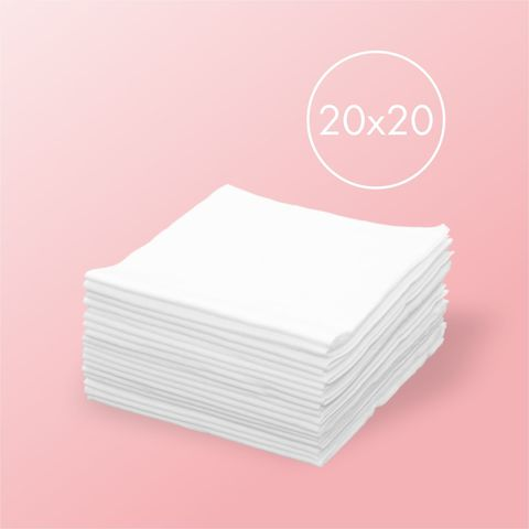 Одноразовые салфетки спанлейс, белые 100шт, 20*20