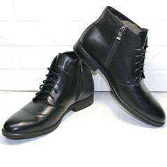 Кожаные ботинки мужские зимние классические Ikoc 3640-1 Black Leather.