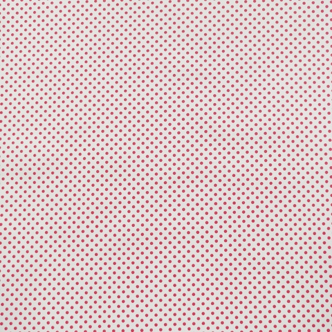 Ткань хлопковая красный горошек 3 мм на белом