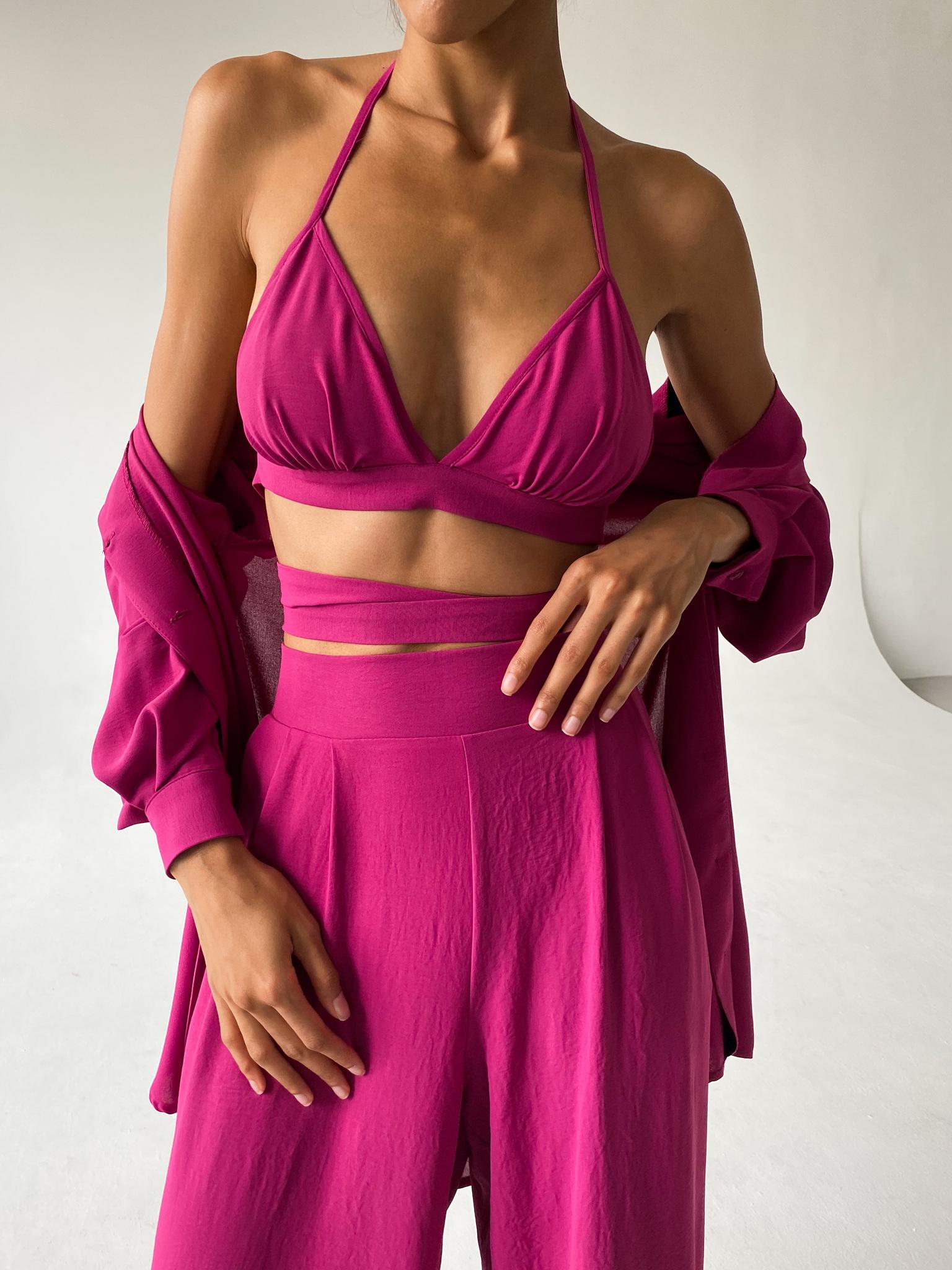Костюм пижамный тройка  (рубашка, брюки и топ) (малиновый)