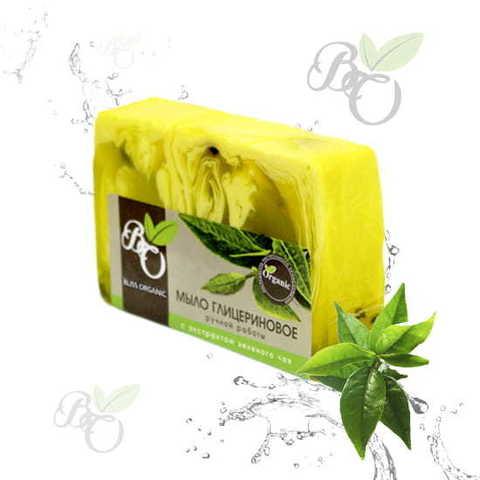 Глицериновое мыло ручной работы «Зеленый чай», Bliss organic 100 гр