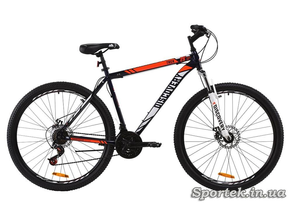 Гірський універсальний велосипед Discovery Trek 2020 року - чорно-біло-помаранчевий