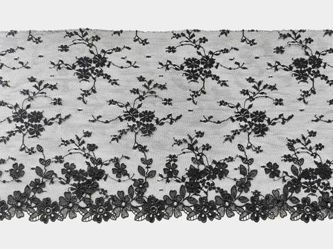 Вышивка на сетке, 19,5 см, черный, цветочки 3D, левая сторона, (Артикул: VS-1006), м