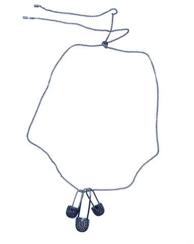 85146- Колье из серебра в черном родии с тремя подвесками булавками