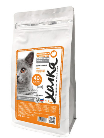 Полнорационный корм «Холка» Индейка и рис для кошек Энерджи 40, 750гр.