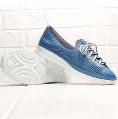 Голубые туфли кеды с белой подошвой летние женские Wollen P029-2096-24 Blue White.