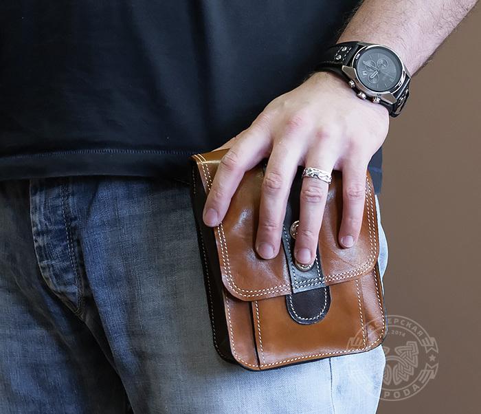 BAG379-2 Мужская кожаная сумка на пояс коричневого цвета, ручная работа фото 10