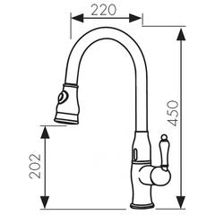 Смеситель KAISER Vincent-Sensor 31366 хром и 31366-1 бронза сенсорный для кухни с вытяжной лейкой схема