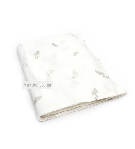 Муслиновая пеленка листья на белом(100х130см)
