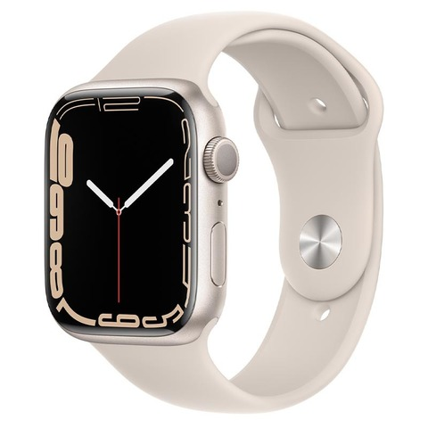 Apple Watch Series 7, GPS, 45 мм, корпус из алюминия цвета «сияющая звезда», спортивный ремешок «сияющая звезда»