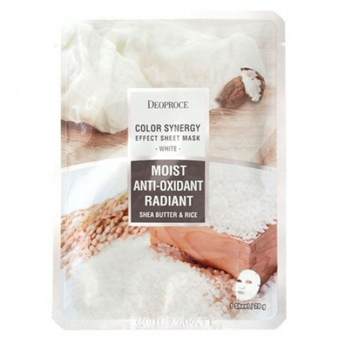 Тканевая маска масло Ши и рис | DEOPROCE COLOR SYNERGY EFFECT SHEET MASK WHITE 20g/1шт