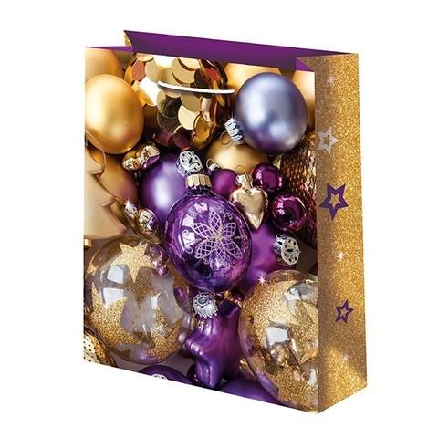 Новогодний подарочный пакет Золотые шары (средний)