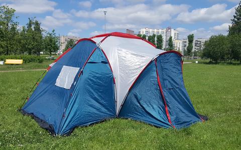 Палатка Canadian Camper SANA 4 PLUS, цвет royal, вид на веранду сбоку.