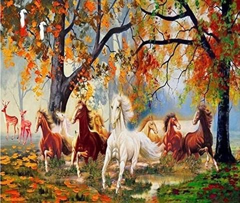 Алмазная Мозаика 40x50 Лошади бегут по осеннему лесу (арт. S2049)