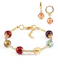 Комплект Carnavale Oro (браслет и серьги Piccolo золотисто-розовые)