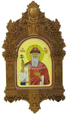 Рукописная икона Святой равноапостольный князь Владимир на кипарисе 20х15см в резном киоте