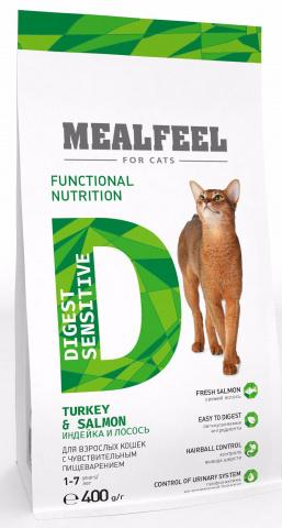 Mealfeel Functional Nutrition Digest Sensitive корм для кошек с чувствительным пищеварением старше 1 года, с индейкой и лососем