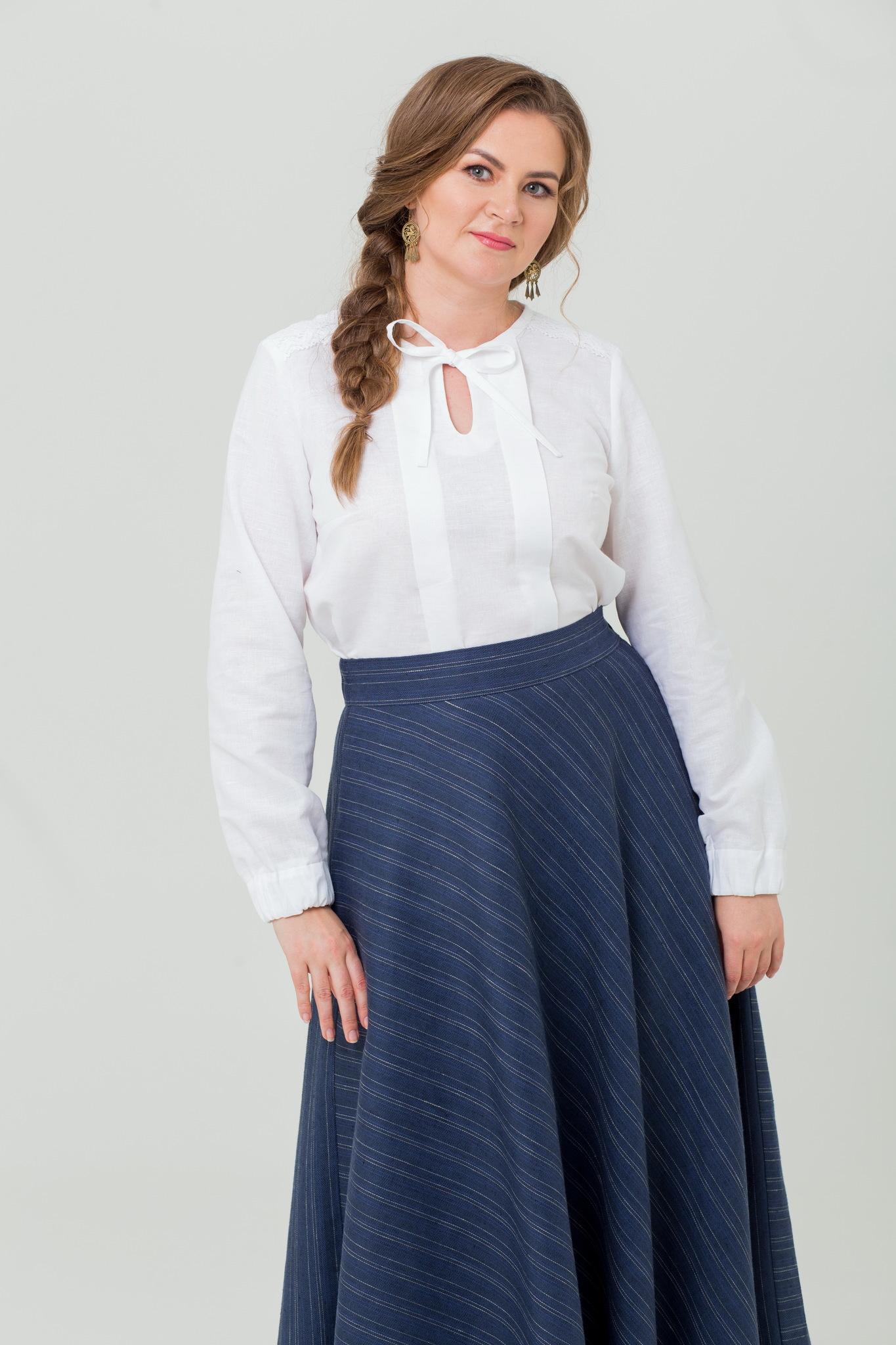 Льняная тёплая юбка с карманами Тёмные аллеи