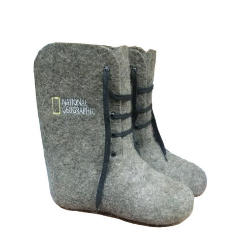 Ботинки валяные с вышивкой, серые