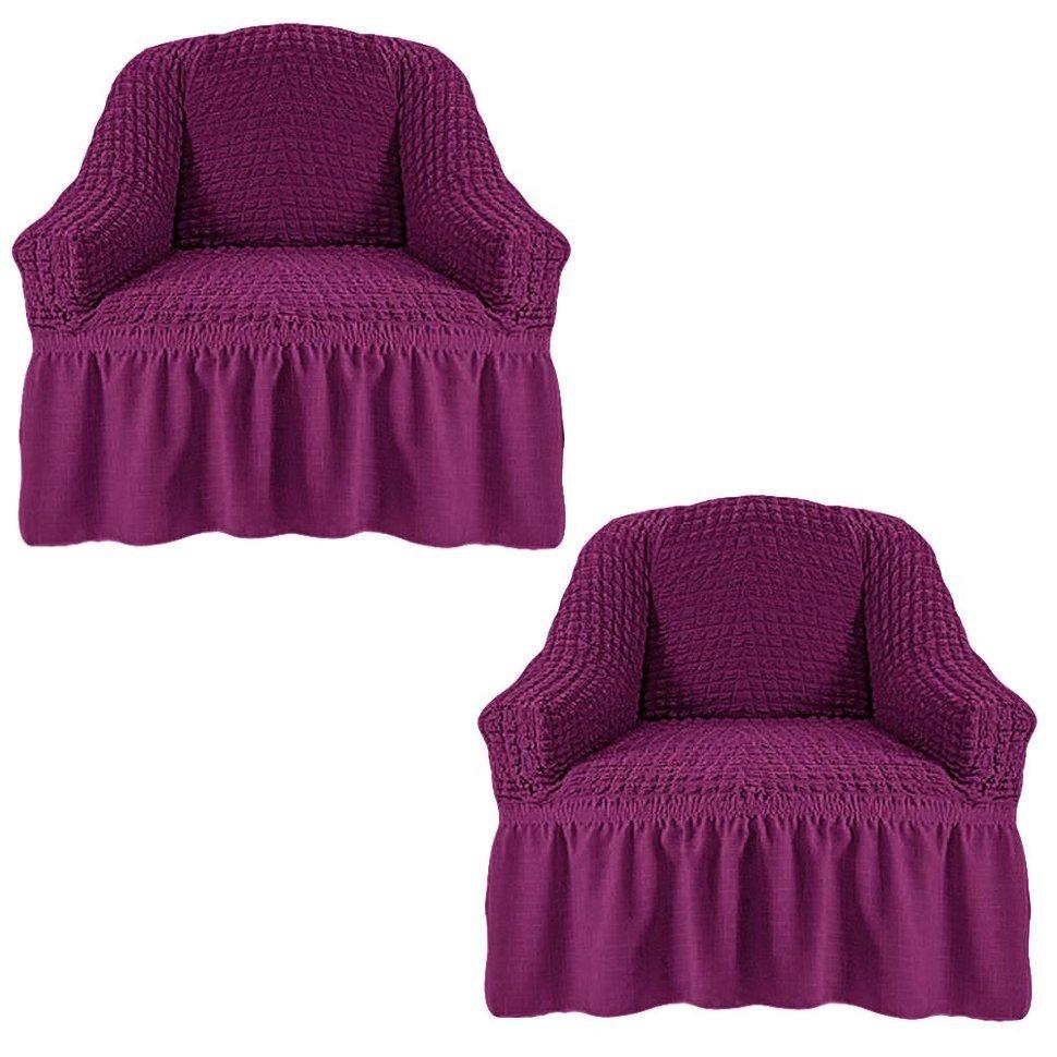 Чехол на два кресла, фиолетовый