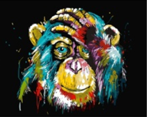 Картина раскраска по номерам 40x50 Цветная обезьяна