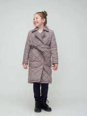 Стеганое пальто на поясе