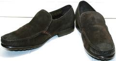Стильные мокасины зимние мужские Welfare 555841 Dark Brown Nubuk & Fur.