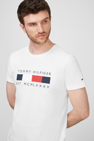 Мужская белая футболка LOGO BOX STRIPE Tommy Hilfiger
