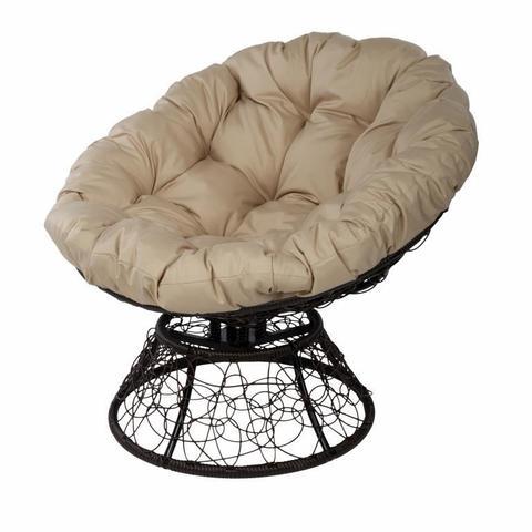 Кресло Papasan с пружиной, цвет плетения коричневый, цвет подушки бежевый