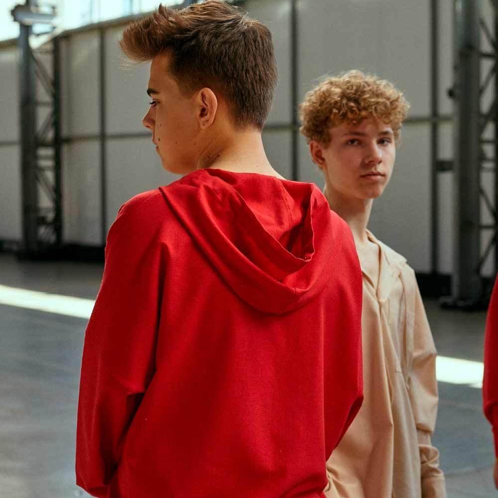 Підлітковий костюм з льону з шортами для хлопчика в бежевому кольорі