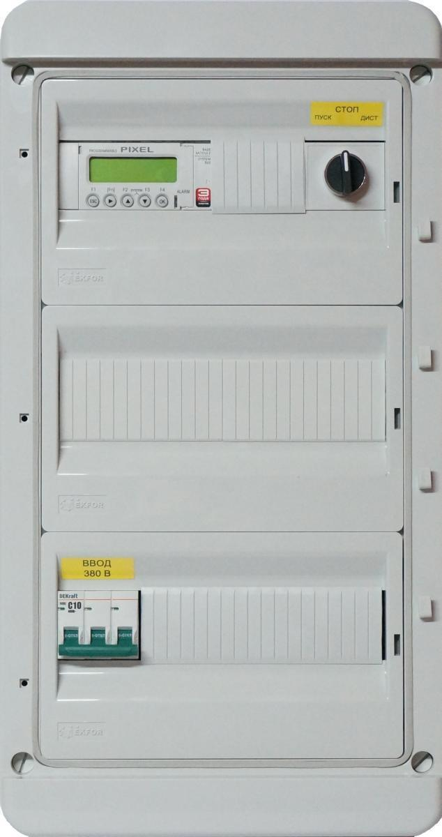 Шкаф автоматики LK для управления приточно-вытяжной системой вентиляции с рециркуляцией с использованием дополнительных секций.
