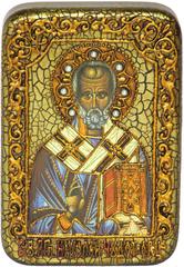 Инкрустированная икона Святитель Николай, архиепископ Мир Ликийский (Мирликийский) 15х10см на натуральном дереве в подарочной коробке