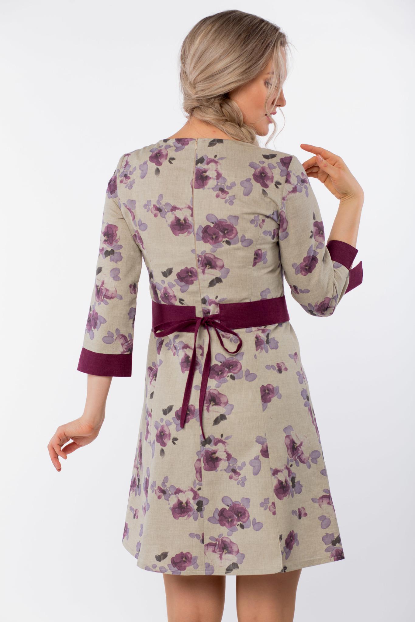Платье льняное Лесная фиалка вид сзади приближенный