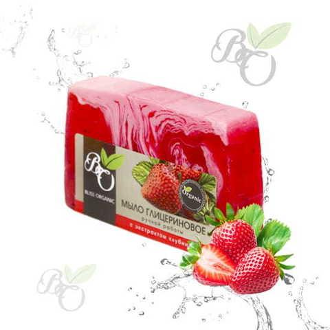 Глицериновое мыло ручной работы «Клубника», Bliss organic 100 гр